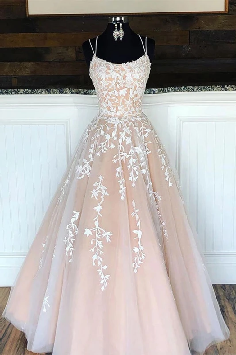 Spaghetti Straps Floor Length Prom Dress With Appliques, Long Evening Dress Lace Up Back Us$ 229.00 Mdpln2zemm - Mordendress.Co.Uk - Hair Beauty